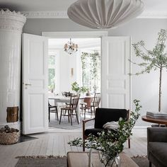 Could You Imagine Living In This Dreamy Swedish Home? (my scandinavian home) Swedish Interiors, Classic Building, Living Spaces, Living Room, Swedish House, White Ceiling, Vintage Chairs, Scandinavian Home, Grey Walls