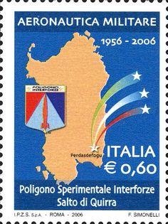 2006 - 50º anniversario del Poligono sperimentale interforze a Salto di Quirra - sagoma della Sardegna e stemma del poligono