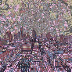 Title  Austin Texas Vintage Panorama 2  Artist  MB Art factory  Medium  Painting - Digital Art