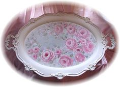Beautiful Large Elegant Silver Tray with Handles-This beautiful tray is so elegant and ornate,  It is heavy114.99silver  plated. I have painted  soft