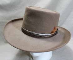 4c393537 Vintage Resistol Roundup Collection Fur Felt Tan Light Brown Western  Rancher Men's Hat Self Conforming Size 7 56 cm
