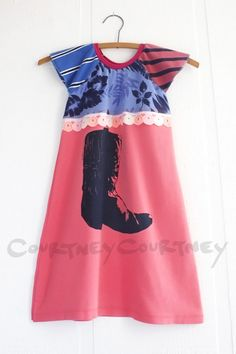 cowboy cowgirl #courtneycourtney #eco #upcycled #recycled #repurposed #tshirt #vintage #dress #girls #unique #clothing #ooak #designer #upscale  #fashion #cowboy #western #boot #pink #blue