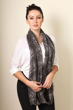 Women's Grey Python Snake Print Infinity Circle Loop Fashion Scarf at Amazon Women's Clothing store: