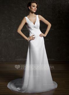 Wedding Dresses - $126.19 - A-Line/Princess V-neck Court Train Chiffon Lace Wedding Dress With Ruffle Beadwork (002011583) http://jjshouse.com/A-Line-Princess-V-Neck-Court-Train-Chiffon-Lace-Wedding-Dress-With-Ruffle-Beadwork-002011583-g11583