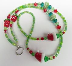 Christmas beaded ID lanyard lampwork seed beads by Harleypaws, $25.00