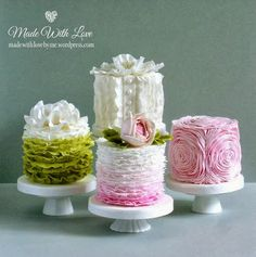 Ideas Deco - Tortas: Tortas primaverales con volados y rosetas