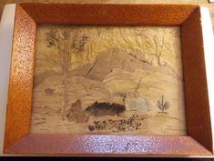 Vintage Aboriginal Bark Art 'Painting' Australian - Teak Wooden Frame 1960s