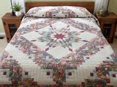 Lone Star Log Cabin Quilt -- splendid cleverly made Amish Quilts from Lancaster (hs6492)
