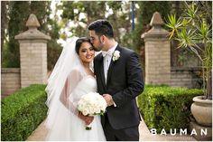 Sweet couple portrait.... gah, his kiss on the forward is so adorable!   Balboa Park Wedding, Photography by Bauman Photographers  View More: http://baumanphotographers.com/blog/weddings/2015/10/gabe-emylou-the-prado-wedding/