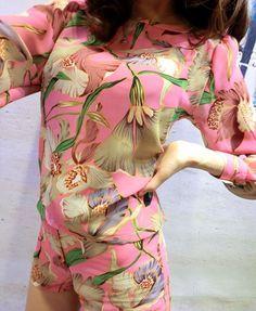 Retro Floral Print Chiffon Suit
