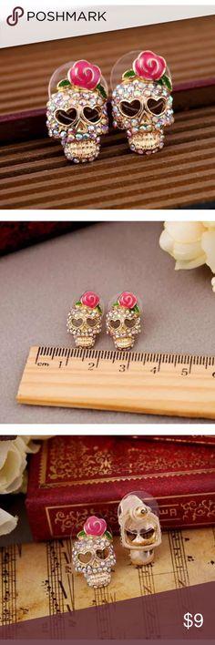 🎀PINK ROSE SKELETON SKULL🎀 New, price is firm. Jewelry Earrings