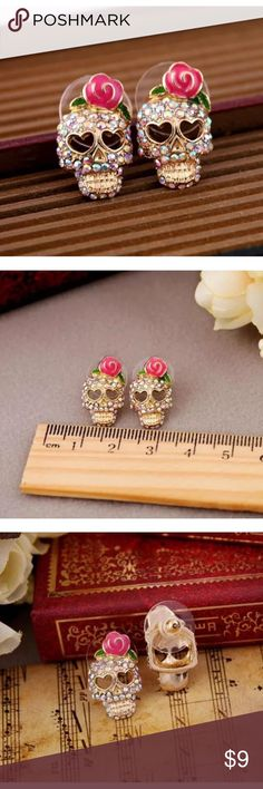 🎀PINK ROSE SKELETON SKULL🎀 New, price is firm. Jewelry Earrings