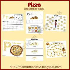 Thanks for taking a look at the Pizza preschool pack. This pack includes 1 introduction page and 32 printable activity pages for a 3 - 6 year old child. There are a variety of activities for math, alphabet practice, fine motor skills, and just plain fun! Preschool At Home, Preschool Themes, Preschool Printables, Preschool Food, Free Preschool, Free Printables, School Pizza, Tot School, Pizza Project