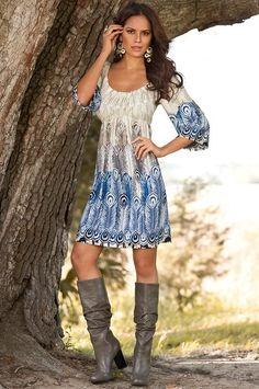 Feather-print boho dress - Boston Proper