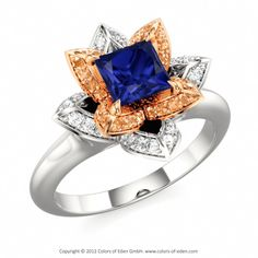 Engagement Ring LOTUS BLOSSOM PETITE PRINCESS #sapphire #engagement #ring