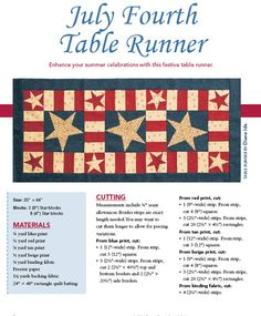 - July Fourth Table Runner Digital Pattern