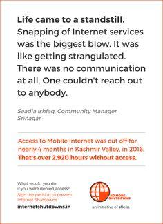 Internet Shutdowns in India Srinagar, Community Manager, Portal, Communication, Management, Internet, India, Life, Delhi India