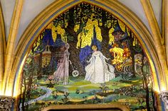 The Mosaics in Cinderella's Castle At Walt Disney World » Fairy Godmother changing Cinderella for the ball.