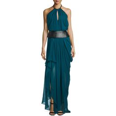 J. Mendel Halter-Neck Leather-Waist Flowy Gown (3 452 AUD) ❤ liked on Polyvore featuring dresses, gowns, empress green, halter evening dress, leather dress, floor length gown, blue dress and blue evening gown