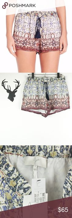 """Joie Lindee Shorts 100% Silk #3610-SH1294 Gorgeous silk Joie Lindee Shorts. Features super on trend tassel string closure, elastic waistband, and front pockets. Lined. Style #3610-SH194, retails for $188. There are a couple of small runs - please see photos - since the print is so busy, it isn't super obvious. Brand new with tags!  🔹 Material: 100% silk; lining: 100% polyester 🔹 Waist measures approx. 14"""" 🔹 Front rise approx. 10.5"""" 🔹 Inseam approx. 2.75"""" 🔹 Dog friendly/smoke free home…"""