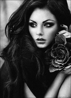 """Lara"" by zemotion.deviantart.com - beautiful dark haired, dark eyed girl with cabbage rose"