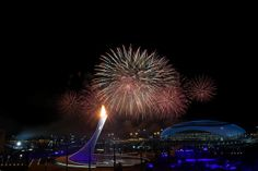 Fireworks on display over the Olympic Park during the Opening Ceremony of the Sochi 2014 Winter Olympics at Fisht Olympic Stadium on Februar...