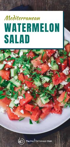This is an easy, fresh and super light Mediterranean watermelon salad with cucumbers, creamy feta, loads of fresh herbs, and a zesty honey-lime dressing! This is perfect for a snack, side dish and defintely a salad you want at your next barbecue! Vegetarian Recipes Easy, Clean Eating Recipes, Healthy Eating, Healthy Recipes, Easy Recipes, Easy Mediterranean Recipes, Mediterranean Dishes, Watermelon Salad, Watermelon Recipes