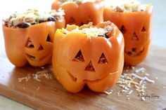Maybe the fist halloween based thing I like. Shredded Chicken and Rice stuffed peppers