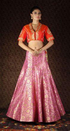 pink banarsi lehenga skirt