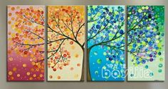 Love the tree idea split in half for a mother and father then the children branching out have each family member paint their own after you paint a tree on all of them!