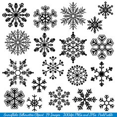 Snowflake Clipart Clip Art, Snowflake Silhouette Clip Art Clipart- Commercial and Personal. $6.00, via Etsy.