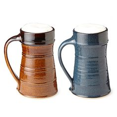 Highlighted by a tapered neck and hand-pulled handle, this stoneware vessel offers stylish insulation to keep hot beverages hot and a cold beer crisp 'til the end.