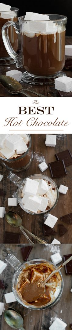 The BEST Hot Chocolate: This hot chocolate is incredibly rich, creamy and silky. It is decadence in a mug.  Deep dark chocolate is balanced with a little salt to temper the sweetness and to enhance the chocolate flavor.: