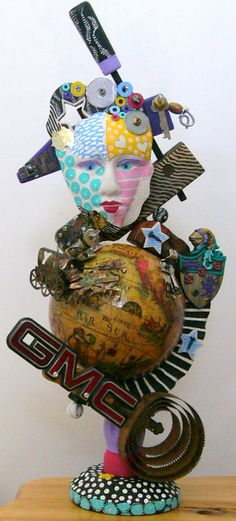 Out Of THIS World       recycled found object sculpture by kerijoy, $375.00