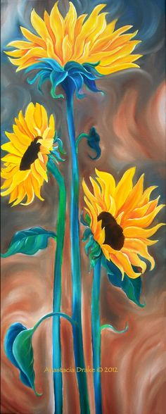 Just The Three Of Us Oil On Canvas Art Painting Strokeofredstudio 2 Sunflower Art, Arte Floral, Painting Inspiration, Art Lessons, Painting & Drawing, Art Drawings, Canvas Art, Painting Canvas, Oil On Canvas