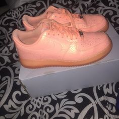 PASTEL ORANGE AIR FORCE ONES These were worn about 3 or 4 times, in good condition. Will go lower on merc Nike Shoes Sneakers