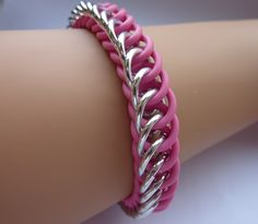 Chainmaille bracelet: Half Persian stretchy design using pink rubber rings and silver rings to fit many sizes. via Etsy. Rubber Rings, Chainmaille Bracelet, Chain Mail, Craft Work, Unique Jewelry, Jewelry Ideas, Persian, My Etsy Shop, Silver Rings