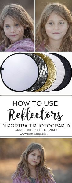 Easy ways to use a reflector to create different looks in portrait photography. Photography tips for using a reflector in your pictures. How to hold the reflector. #photographybusinesstips #photographytutorials