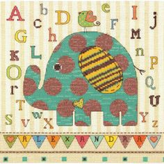 Dimensions - Baby Elephant ABC Counted Cross Stitch Kit # 70-73988