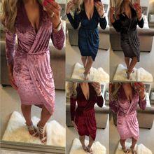 Ebay 速卖通 天鹅绒秋冬季打底修身长袖纯色性感V领不规则连衣裙