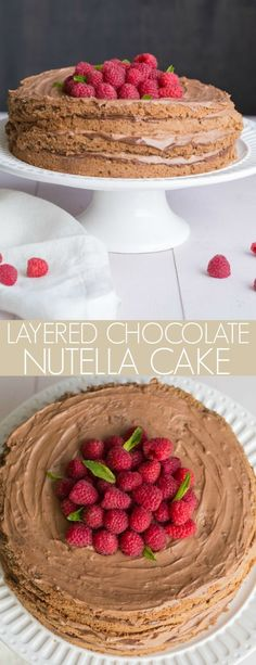 This Layered Chocolate Nutella Cale is a soft chocolate sponge cake layered with a creamy Nutella cream and topped with fresh raspberries. Nutella Chocolate Cake, Homemade Chocolate, Chocolate Sponge, Chocolate Heaven, Chocolate Treats, Nutella Recipes, Cake Recipes, Dessert Recipes, Top Recipes