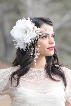 The Mini Alana Headdress- Kat Swank. Custom Made Made to Order- You choose the color scheme- A Headpiece