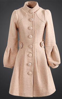 Stand Collar Bell Bottom Sleeve Wool Coat