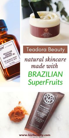 TEADORA SKINCARE.  Eco-friendly, high-performance and award-winning skincare inspired by the Amazon Rainforest.  Every product in this delightful collection is formulated with one of Teadora's propriety nourishing and revitalizing elixirs.  These unique blends of Brazilian super fruits brighten, hydrate, restore, and revitalize the skin.  Ethically sourced and 100% vegan.  #ecoluxe #veganskincare #organicskincare #naturalskincare #superfoods #superfruits #indiebeauty Organic Skin Care, Natural Skin Care, Copaiba Oil, Top Skin Care Products, Amazon Rainforest, Homemade Face Masks, Holistic Remedies, Light Therapy, Perfect Skin