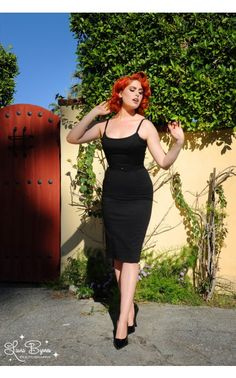 Pinup Couture - Jayne 1960s Sheath Wiggle Dress in Black | Pinup Girl Clothing