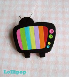 tv with rainbow stripes  - fimo sculpey polymer clay .. Vintage camera or record player etc could be great too