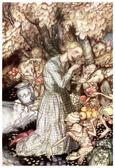 Morning and evening Maids heard the goblins cry: 'Come buy our orchard fruits, Come buy, come buy - Goblin Market by Christina Rossetti, 1933