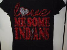 Indian tee, love me some indians tee, Indian football tee, custom mascot tee