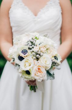 Bridal Bouquet of anemone, roses, brunia, hydrangea and dusty miller by Southern Event Planners, Memphis Weddings, Photo by Sarah Rossi
