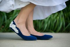 Wedding Shoes  Blue Bridal Flats with Ivory Lace US by walkinonair, $41.00